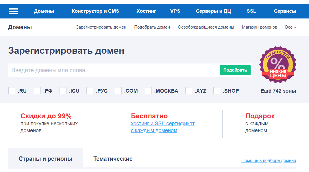 выбор домена reg.ru
